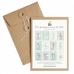 Kit de 12 cartes étapes souvenirs premiers mois de bébé Zü
