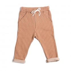 Pantalon a rayures terracotta Monkind