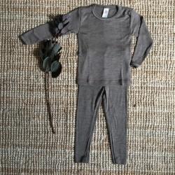 Legging enfant laine et soie noyer Engel