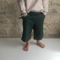 Pantalon large à rayures émeraude Monkind