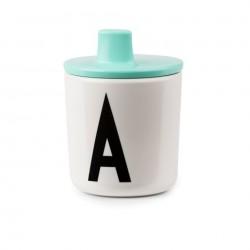couvercle à bec design letters drink lid noir rose mint