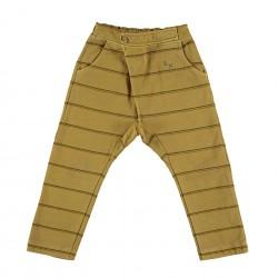 Pantalon baggy rayé moutarde Bonmot
