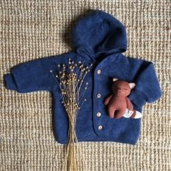 Blouson en laine merinos bleu Engel