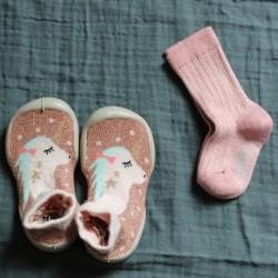 chaussettes lurex à côtes rose quartz collégien