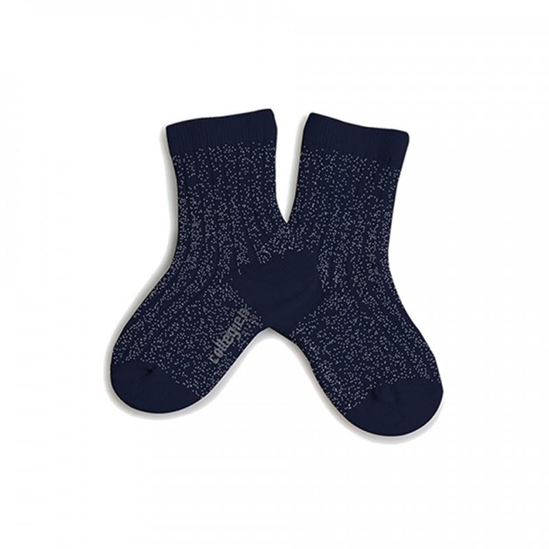 chaussettes lurex à côtes nuit étoilée collégien