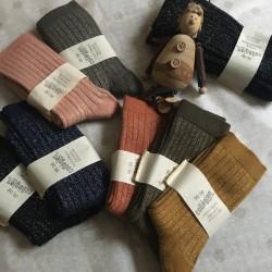 Chaussettes Femme en laine et cachemire Brillantes Noir Intense