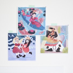 3 Puzzles Stickers Princesses Poppik