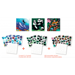 3 Puzzles Stickers Animaux Sauvages Poppik