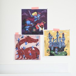 3 Puzzles Stickers Dragon & Chevaliers Poppik