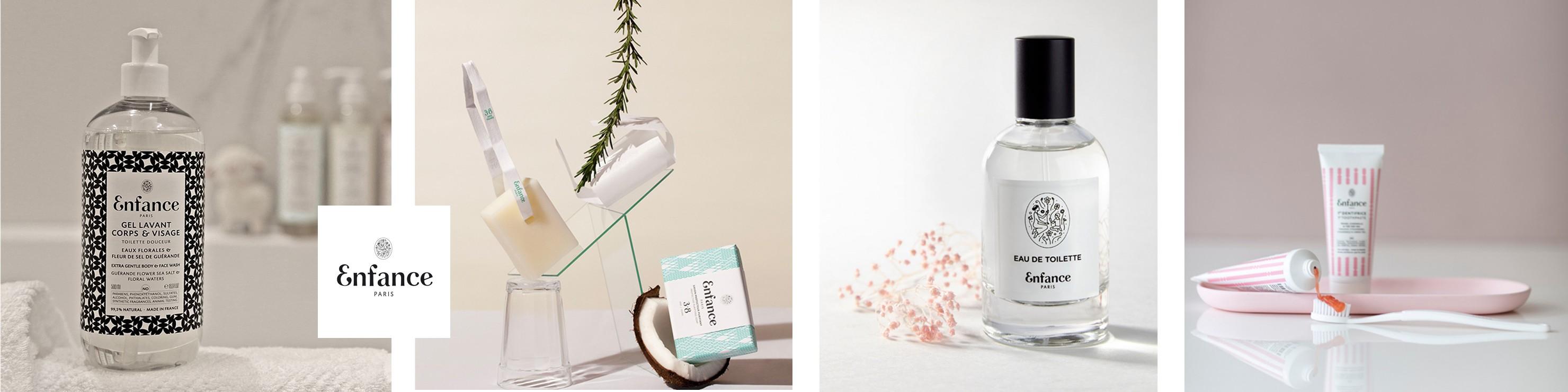 Les produits de soins naturels Enfance Paris : shampoing, savon, dentifrice, gel lavant et eau de toilette